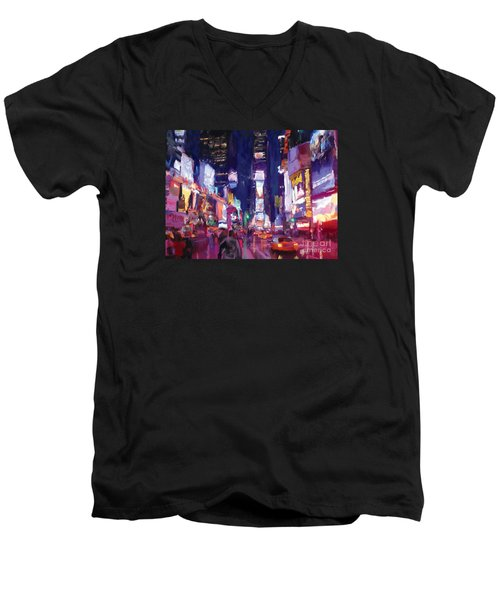 Men's V-Neck T-Shirt featuring the painting Amy's Time Square In The Rain by Tim Gilliland