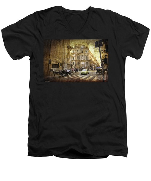 Time Traveling In Palermo - Sicily Men's V-Neck T-Shirt by Madeline Ellis