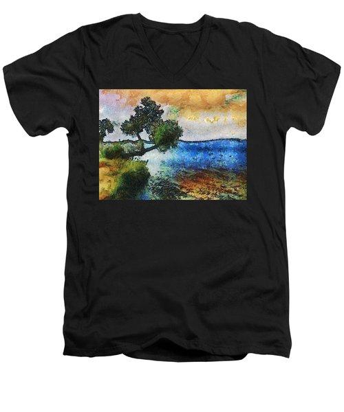 Time Well Spent - Medina Lake Men's V-Neck T-Shirt by Wendy J St Christopher