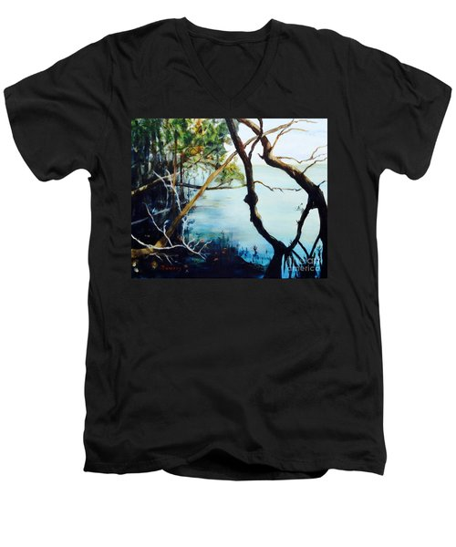 Men's V-Neck T-Shirt featuring the painting Timeless Forest by Mary Lynne Powers
