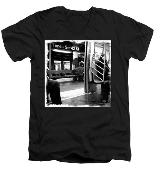 Men's V-Neck T-Shirt featuring the photograph Times Square - 42nd St by James Aiken