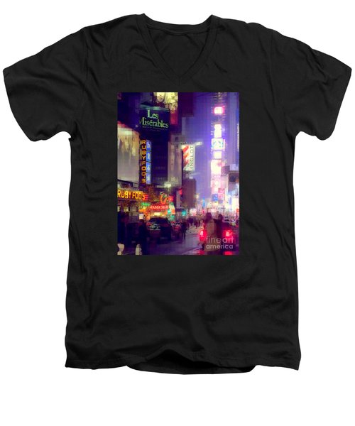 Times Square At Night - Columns Of Light Men's V-Neck T-Shirt