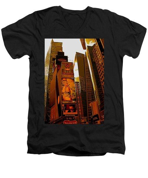 Times Square In Manhattan Men's V-Neck T-Shirt