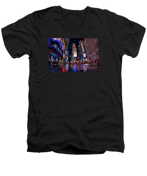 Times Square New York City The City That Never Sleeps Men's V-Neck T-Shirt by Susan Candelario