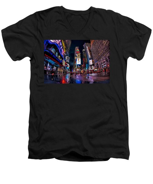 Times Square New York City The City That Never Sleeps Men's V-Neck T-Shirt