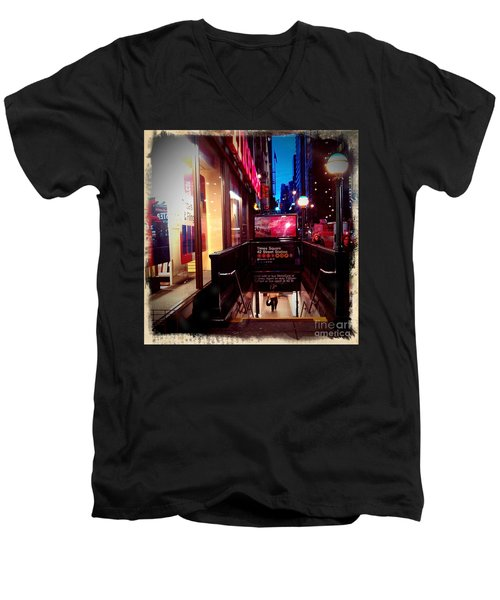 Men's V-Neck T-Shirt featuring the photograph Times Square Station by James Aiken