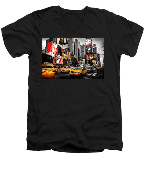 Times Square Taxis Men's V-Neck T-Shirt by Az Jackson