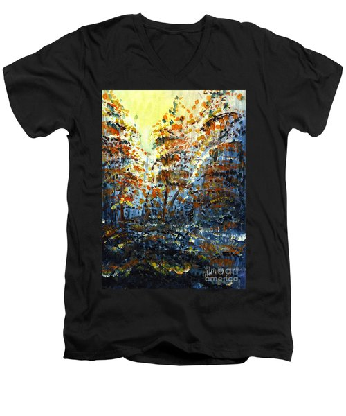 Men's V-Neck T-Shirt featuring the painting Tim's Autumn Trees by Holly Carmichael