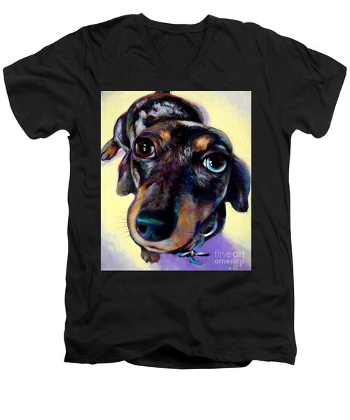 Men's V-Neck T-Shirt featuring the painting Tink  by Robert Phelps