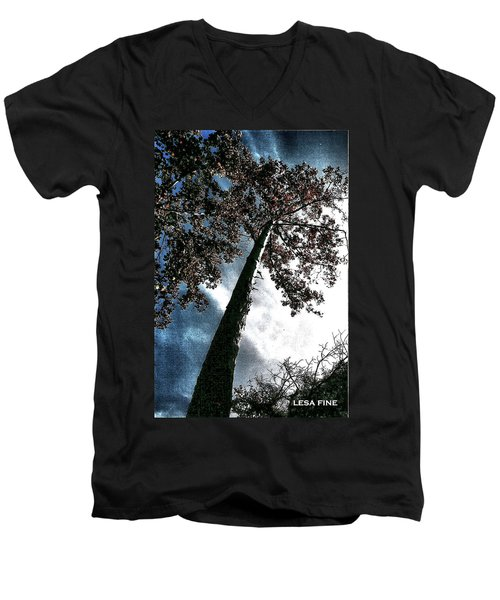 Men's V-Neck T-Shirt featuring the photograph Tippy Top Tree II Art by Lesa Fine