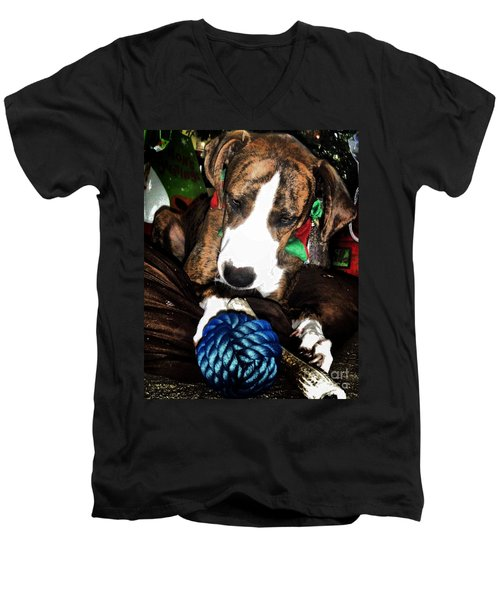 Men's V-Neck T-Shirt featuring the photograph 'tis Better To Receive by Robert McCubbin