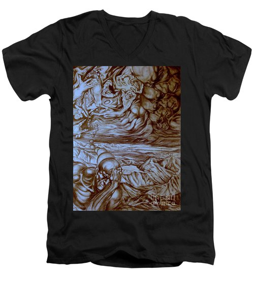 Men's V-Neck T-Shirt featuring the drawing Titan In Desert by Mikhail Savchenko