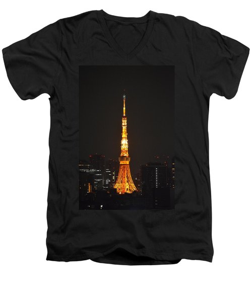 Tokyo Tower And Skyline At Night From Shinagawa Men's V-Neck T-Shirt by Jeff at JSJ Photography