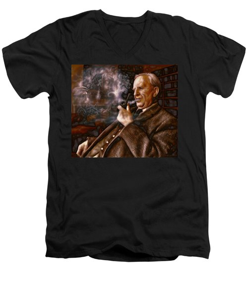 Men's V-Neck T-Shirt featuring the painting Tolkien Daydreams by Dave Luebbert