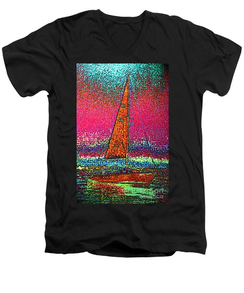 Tom Ray's Sailboat 3 Men's V-Neck T-Shirt