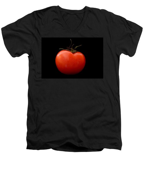 Tomato On Black Men's V-Neck T-Shirt by Jeremy Voisey