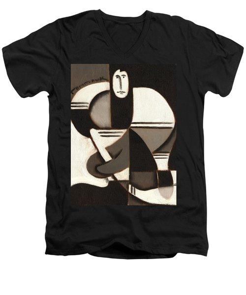 Tommervik Abstract Cubism Hockey Player Art Print Men's V-Neck T-Shirt