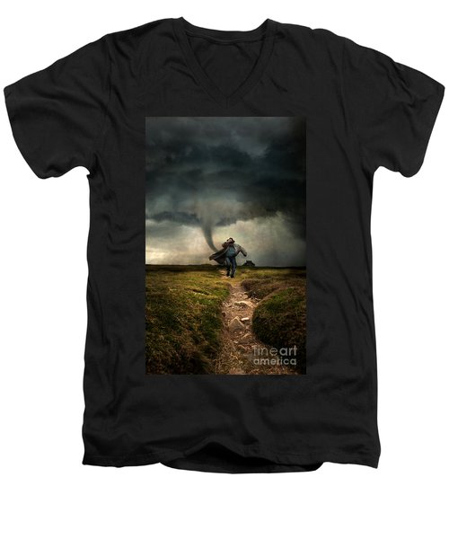Tornado Men's V-Neck T-Shirt by Jaroslaw Blaminsky