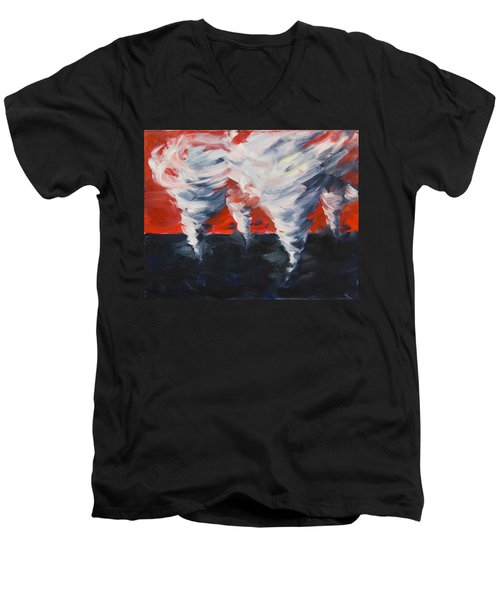 Men's V-Neck T-Shirt featuring the painting Apocalyptic Dream by Yulia Kazansky