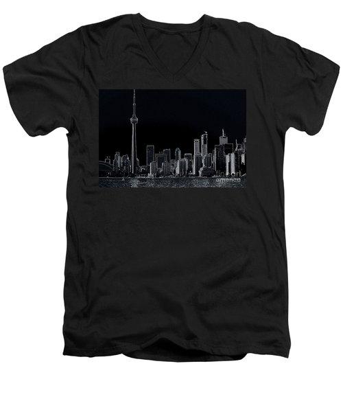 Toronto Skyline Black And White Abstract Men's V-Neck T-Shirt