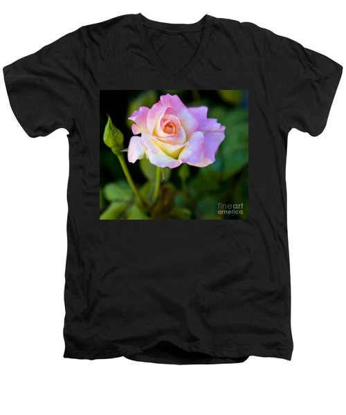 Men's V-Neck T-Shirt featuring the photograph Rose-touch Me Softly by David Millenheft