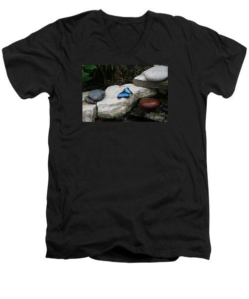 Touch Of Blue Men's V-Neck T-Shirt by Judy Whitton