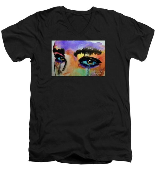 Men's V-Neck T-Shirt featuring the painting Tougher Than You Think by Michael Cross
