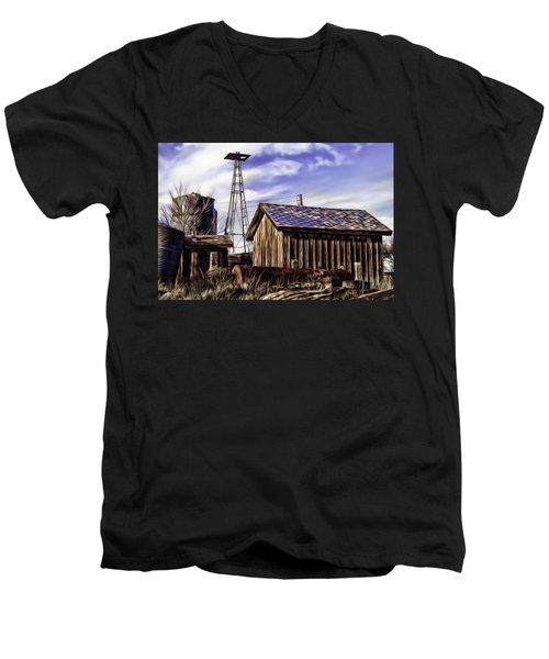 Men's V-Neck T-Shirt featuring the painting Tower by Muhie Kanawati