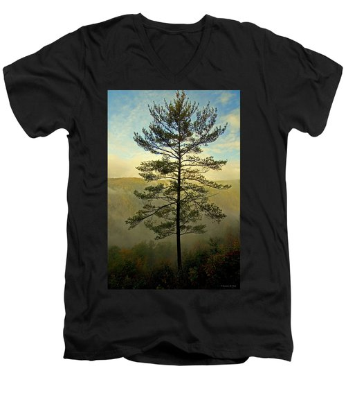 Men's V-Neck T-Shirt featuring the photograph Towering Pine by Suzanne Stout