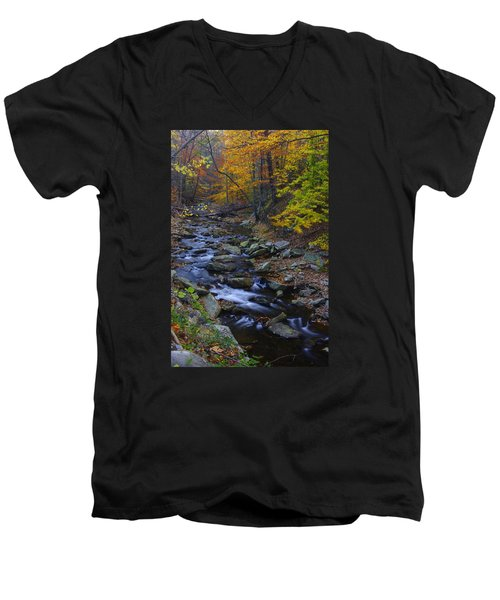 Tracking Color - Big Hunting Creek Catoctin Mountain Park Maryland Autumn Afternoon Men's V-Neck T-Shirt by Michael Mazaika
