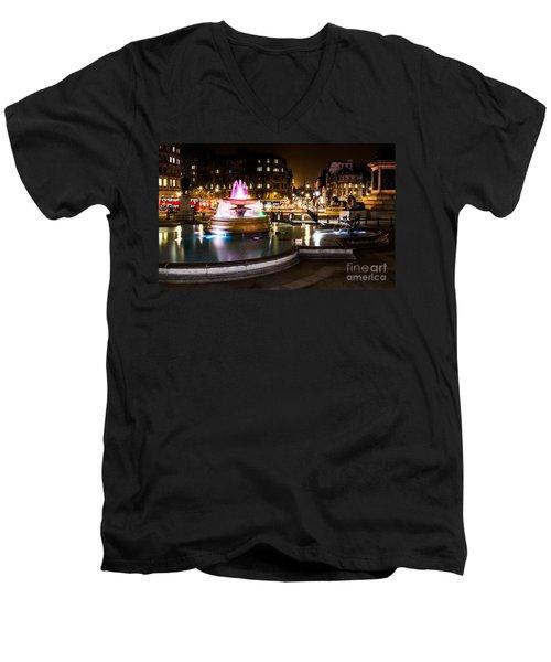 Men's V-Neck T-Shirt featuring the photograph Trafalgar Square by Matt Malloy