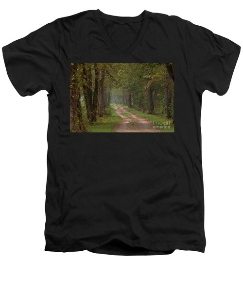 Trail Along The Canal Men's V-Neck T-Shirt by Jeannette Hunt