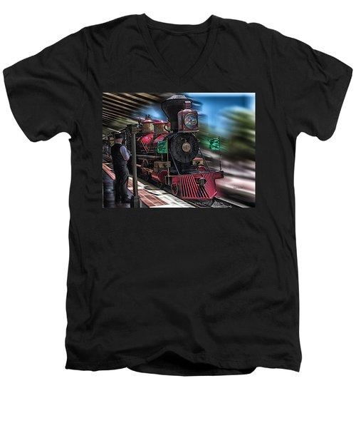 Train Ride Magic Kingdom Men's V-Neck T-Shirt by Thomas Woolworth