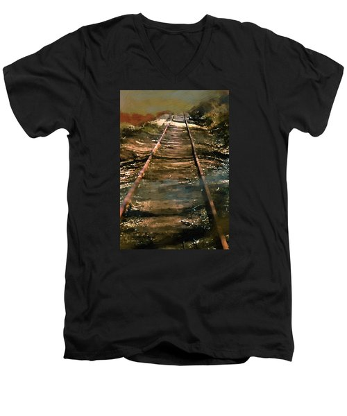 Train Track To Hell Men's V-Neck T-Shirt by RC deWinter