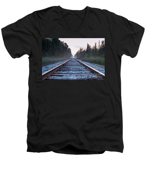 Men's V-Neck T-Shirt featuring the photograph Train Tracks To Nowhere by Patrick Shupert
