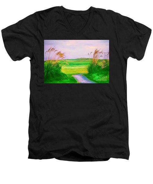 Tralee Ireland Water Color Effect Men's V-Neck T-Shirt