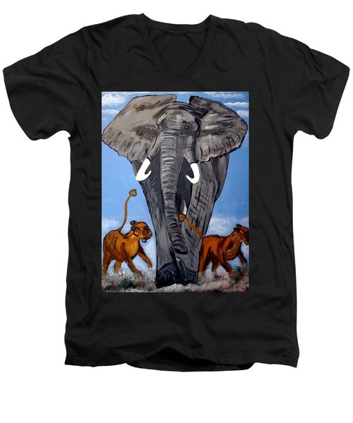 Men's V-Neck T-Shirt featuring the painting Trampling Elephant by Nora Shepley