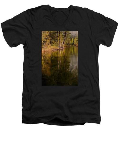 Tranquil Merced River Men's V-Neck T-Shirt by Duncan Selby