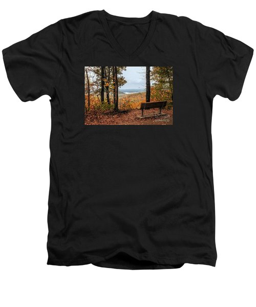 Men's V-Neck T-Shirt featuring the photograph Tranquility Bench In Great Smoky Mountains by Debbie Green