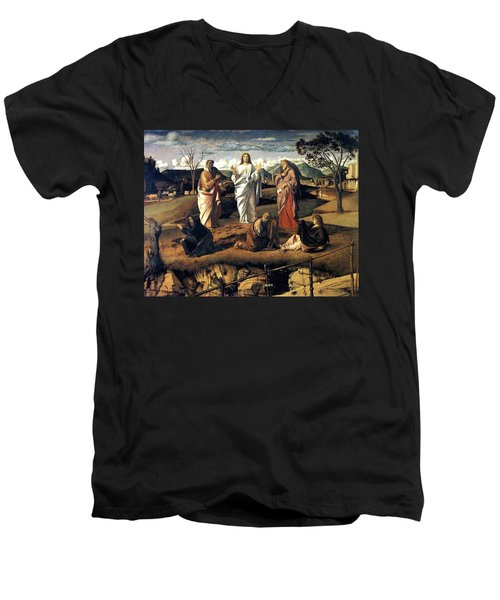 Men's V-Neck T-Shirt featuring the painting Transfiguration Of Christ 1487 Giovanni Bellini by Karon Melillo DeVega