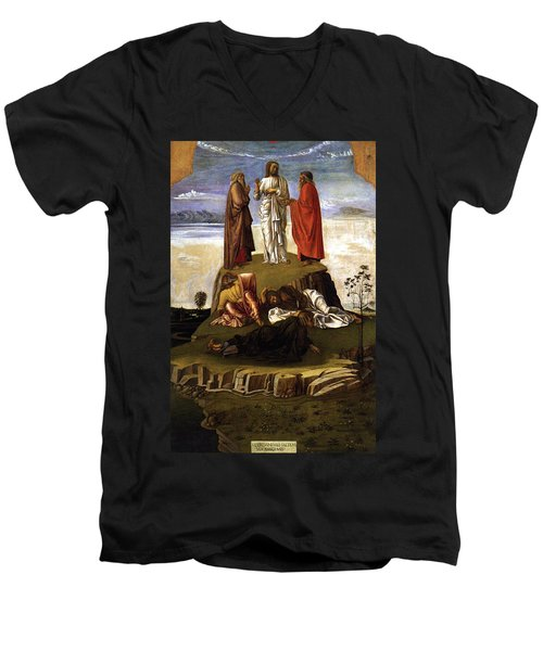 Men's V-Neck T-Shirt featuring the painting Transfiguration Of Christ On Mount Tabor 1455 Giovanni Bellini by Karon Melillo DeVega