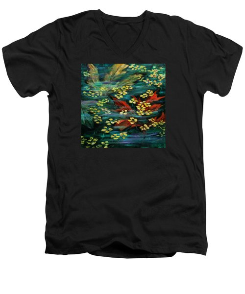 Men's V-Neck T-Shirt featuring the painting Transforming... by Xueling Zou