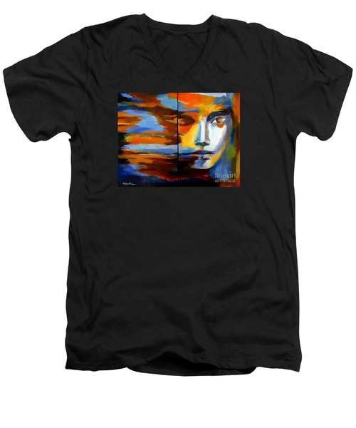 Men's V-Neck T-Shirt featuring the painting Transition - Diptic by Helena Wierzbicki