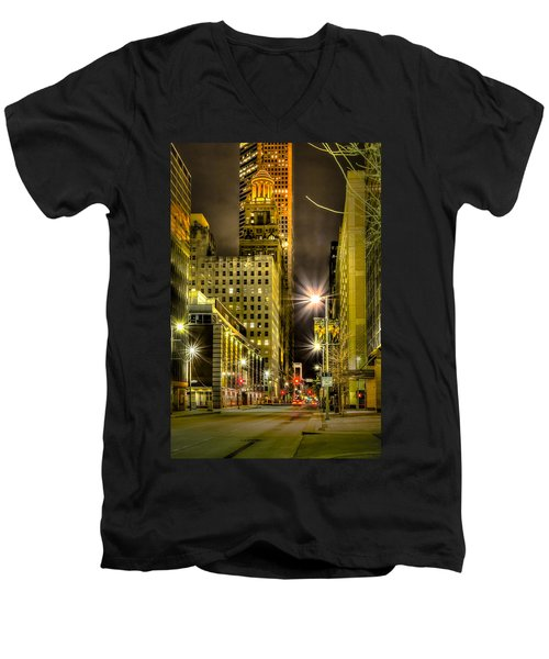 Travis And Lamar Street At Night Men's V-Neck T-Shirt