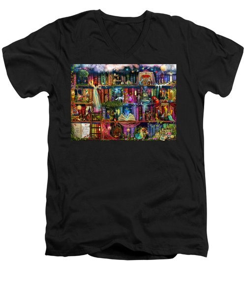 Fairytale Treasure Hunt Book Shelf Men's V-Neck T-Shirt by Aimee Stewart