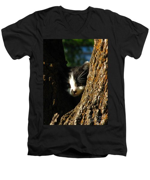 Tree Cat Men's V-Neck T-Shirt