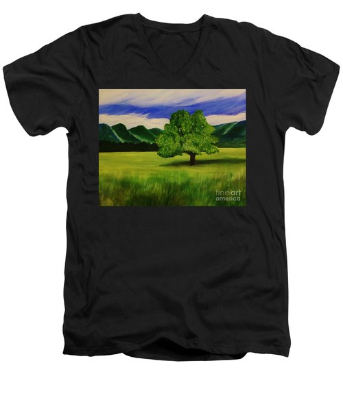 Tree In A Field Men's V-Neck T-Shirt by Christy Saunders Church