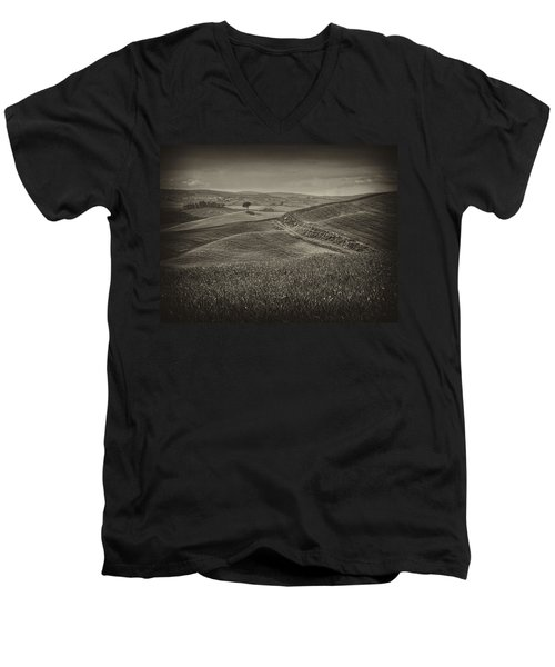 Men's V-Neck T-Shirt featuring the photograph Tree In Sienna by Hugh Smith