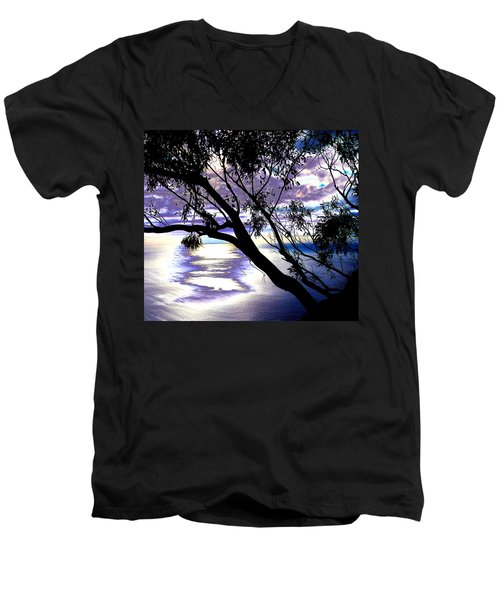 Tree In Silhouette Men's V-Neck T-Shirt