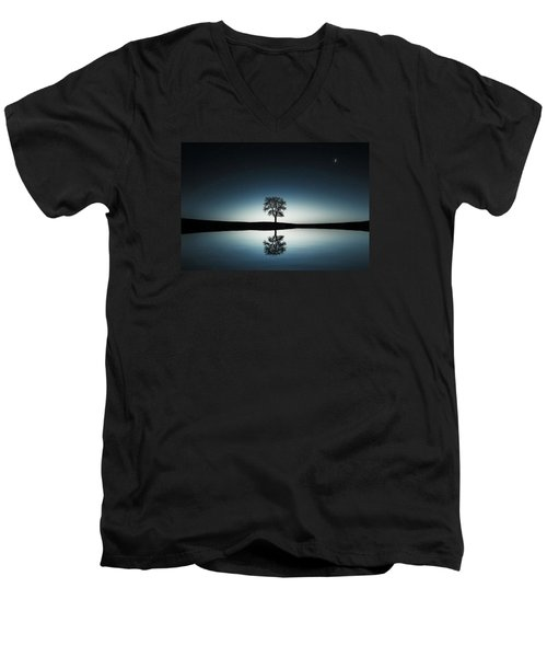Tree Near Lake At Night Men's V-Neck T-Shirt by Bess Hamiti